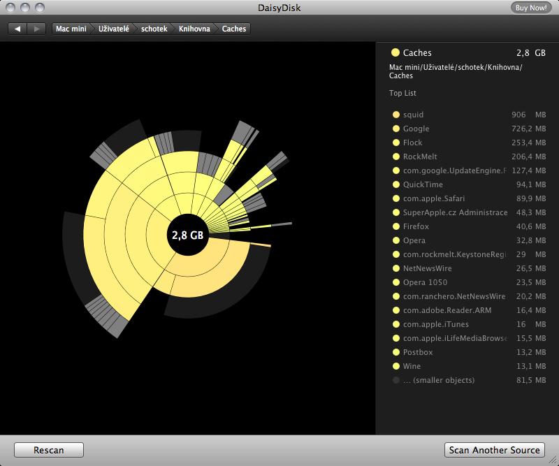 DaisyDisk: mějte dokonalý přehled o obsazeném místu na disku