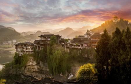 An incredible sunset in Hibiscus town, Hunan China.