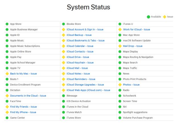 Apple má výpadek služeb