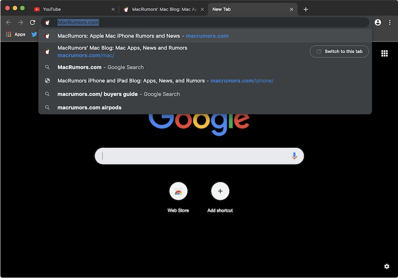Dark Mode Chrome Mojave