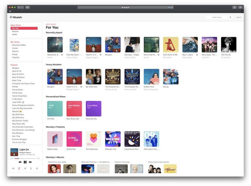 Musish webový hudební přehrávač Apple Music
