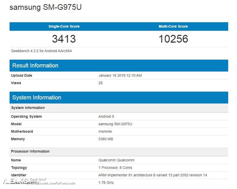 Benchmark Samsung Galaxy S10+