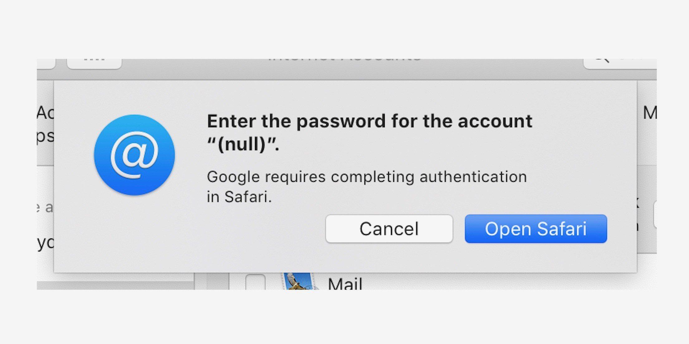 macOS 10.4.4 a chyba Google účtu