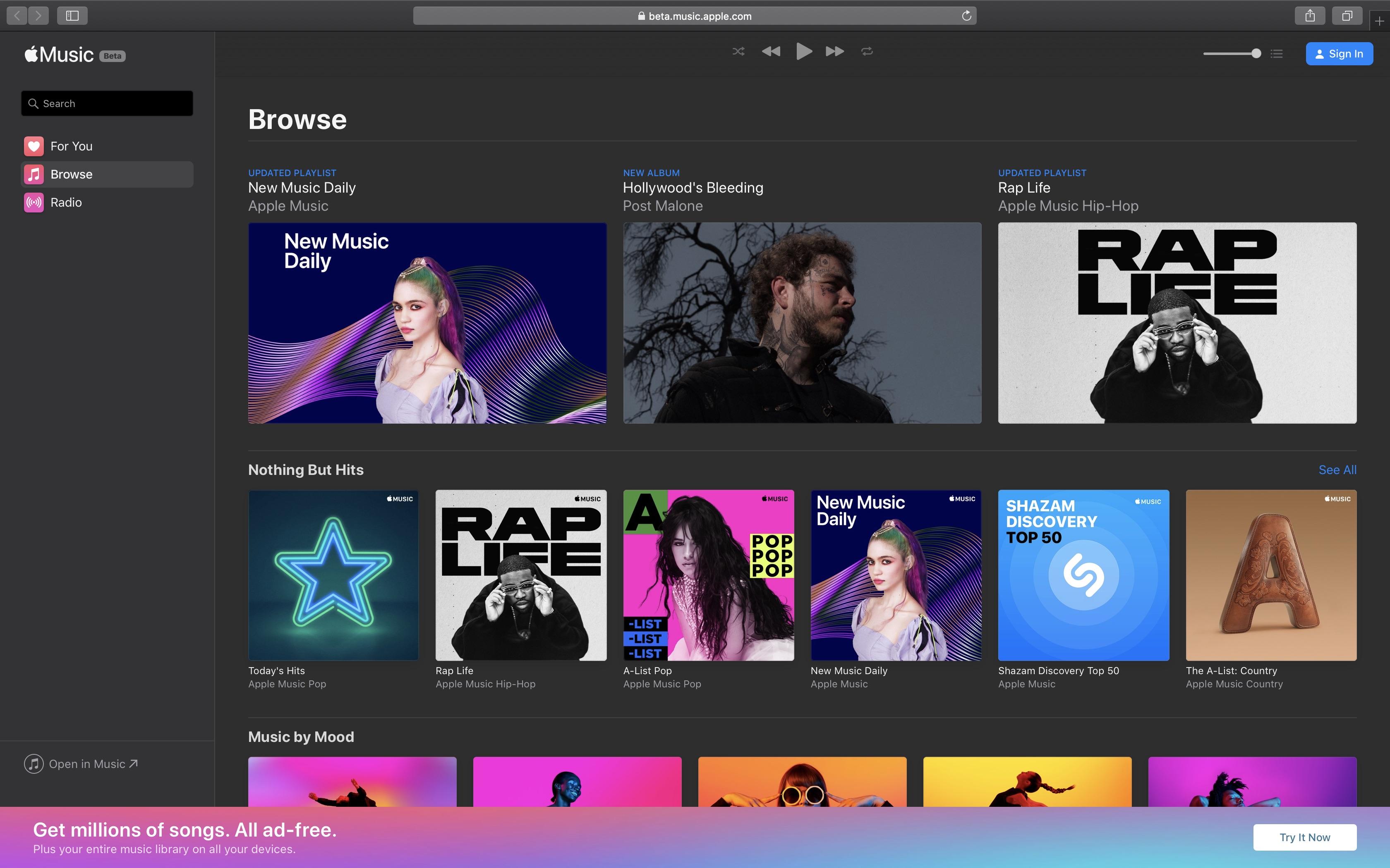 Byla spuštěna betaverze webového přehrávače Apple Music