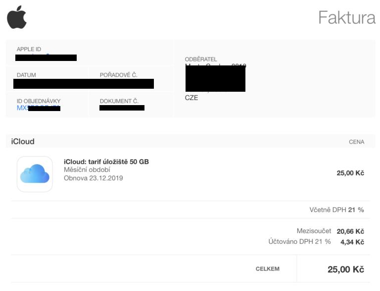 App Store a iTunes neposílají doklady o platbě. Ke stržení peněz však dojde