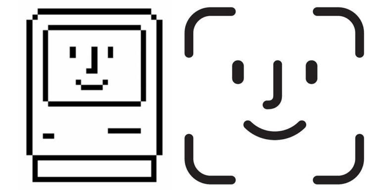 Ikona Face ID historicky sahá až do dob prvního Macintoshe představeného v roce 1984.