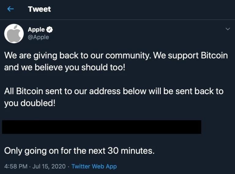 Twitterové účty celebrit a velkých společností byly hacknuty. Apple nabízel Bitcoin pro všechny