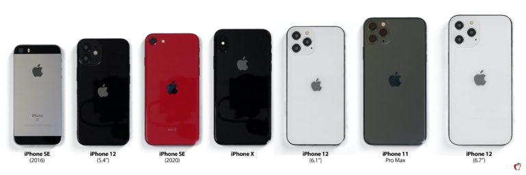 Srovnání velikostí maket iPhone 12 s ostatními modely. Návrat k velikosti původního iPhone SE?
