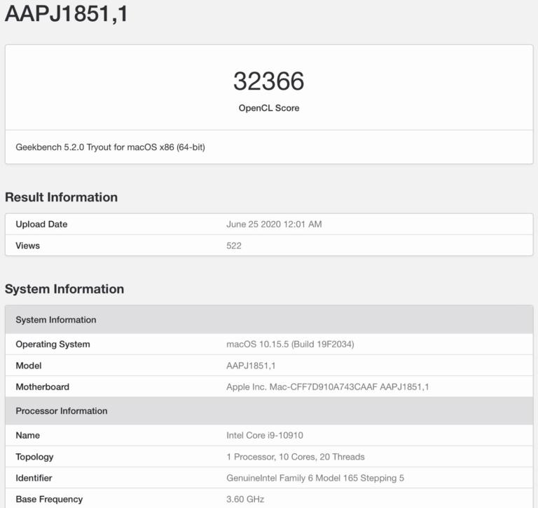V databázi Geekbench se objevil neuvedený iMac s desetijádrovým procesorem řady Intel Comet Lake a kartou Radeon Pro 5300