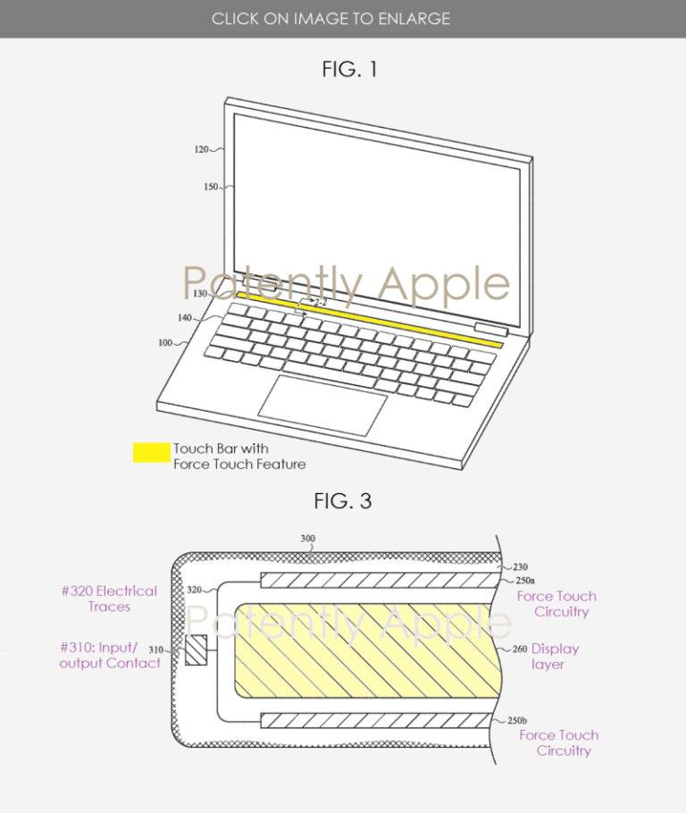 Inovace jménem Touch Bar. Apple si pro něj patentoval technologii Force Touch