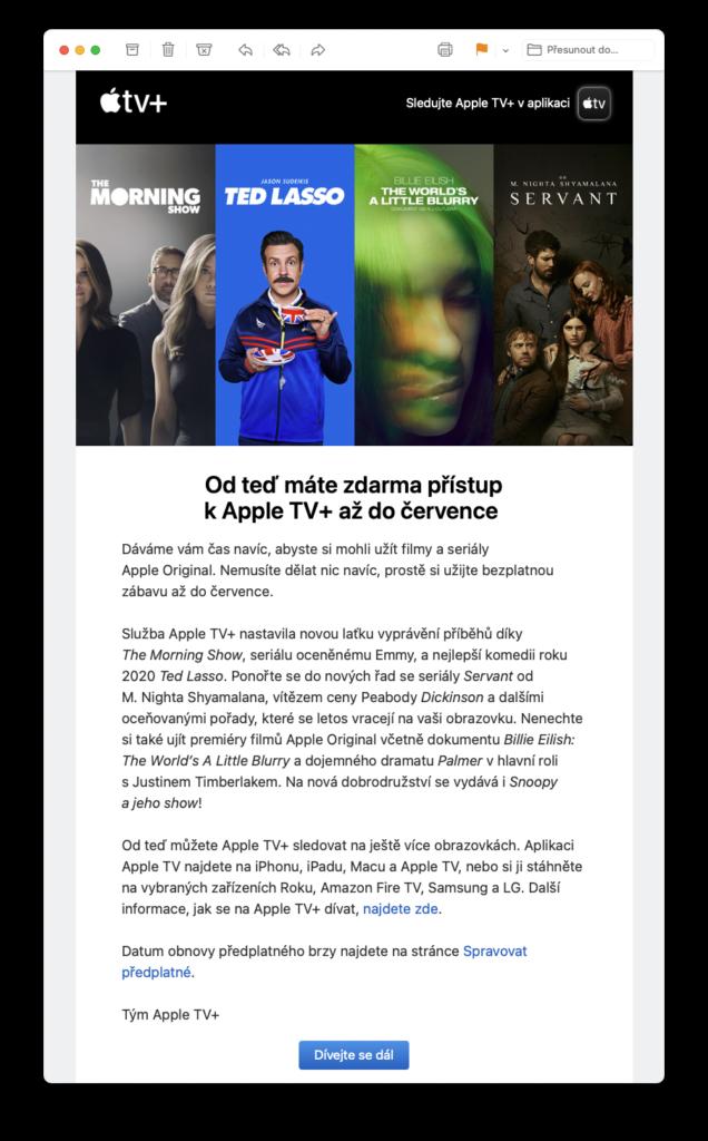 Apple znovu prodlužuje bezplatné období pro svou videostreamovací službu Apple TV+